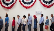Voters lining up at a poll.