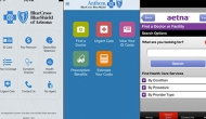 Screenshots of the iOS mobile apps for three major insurers