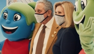 Atlanta Falcons owner Arthur Blank and Children's Hosptials CEO Donna Hyland pose with mascots at an event this week. (Children's Healthcare of Atlanta)