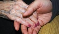 close up on elderly hands