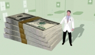 illustration of doctor with a pile of money