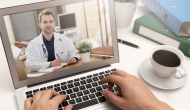 Telehealth consultation on laptop